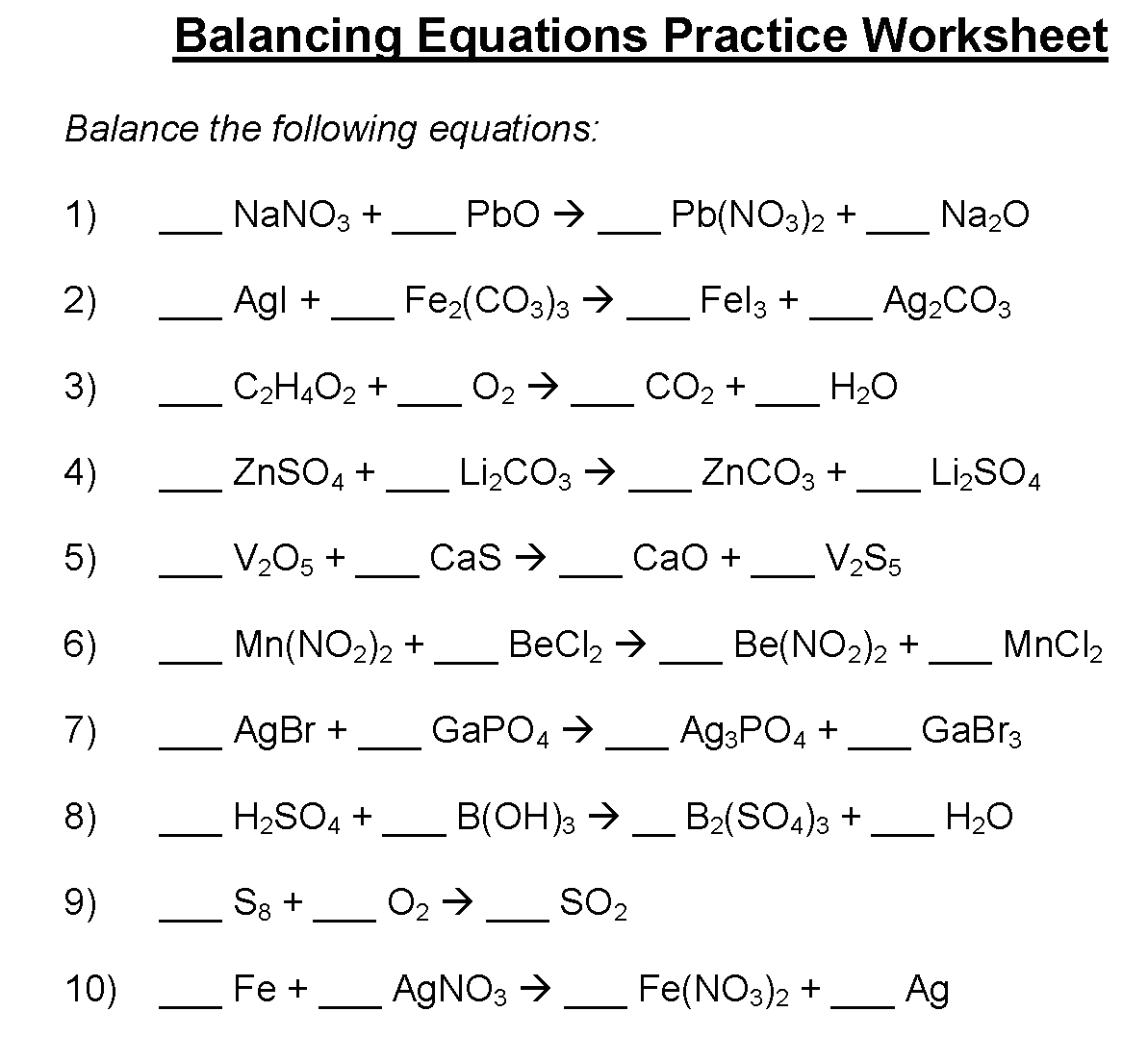 Download Balancing Equations Worksheet | Chemical | Practice ...
