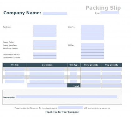 Blank Packing Slip | PDF | Word | Excel  Free Packing Slip Template