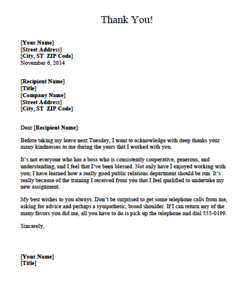 Personal Thank You Letter Sample | Letter To Boss Kirmi Yellowriverwebsites Com