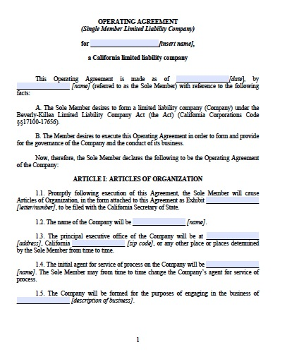 Operating Agreement For A Single Member Llc Gallery Agreement