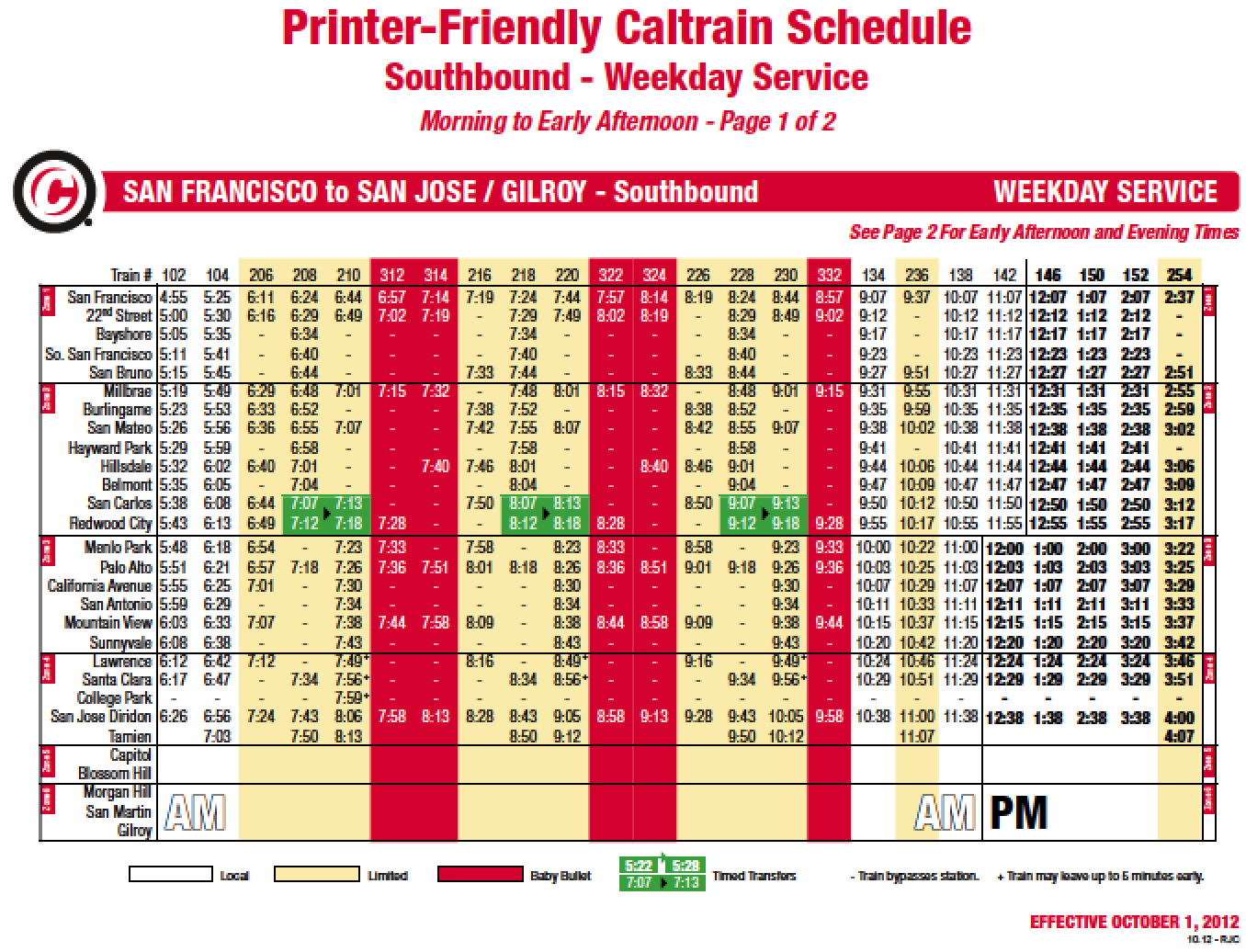 download caltrain schedule