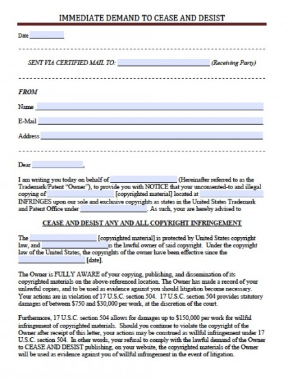 Cease And Desist | PDF | RTF | Word (.doc)  Cease And Desist Template
