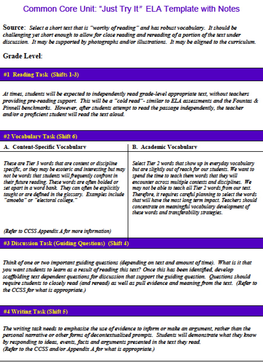 download common core lesson plan template