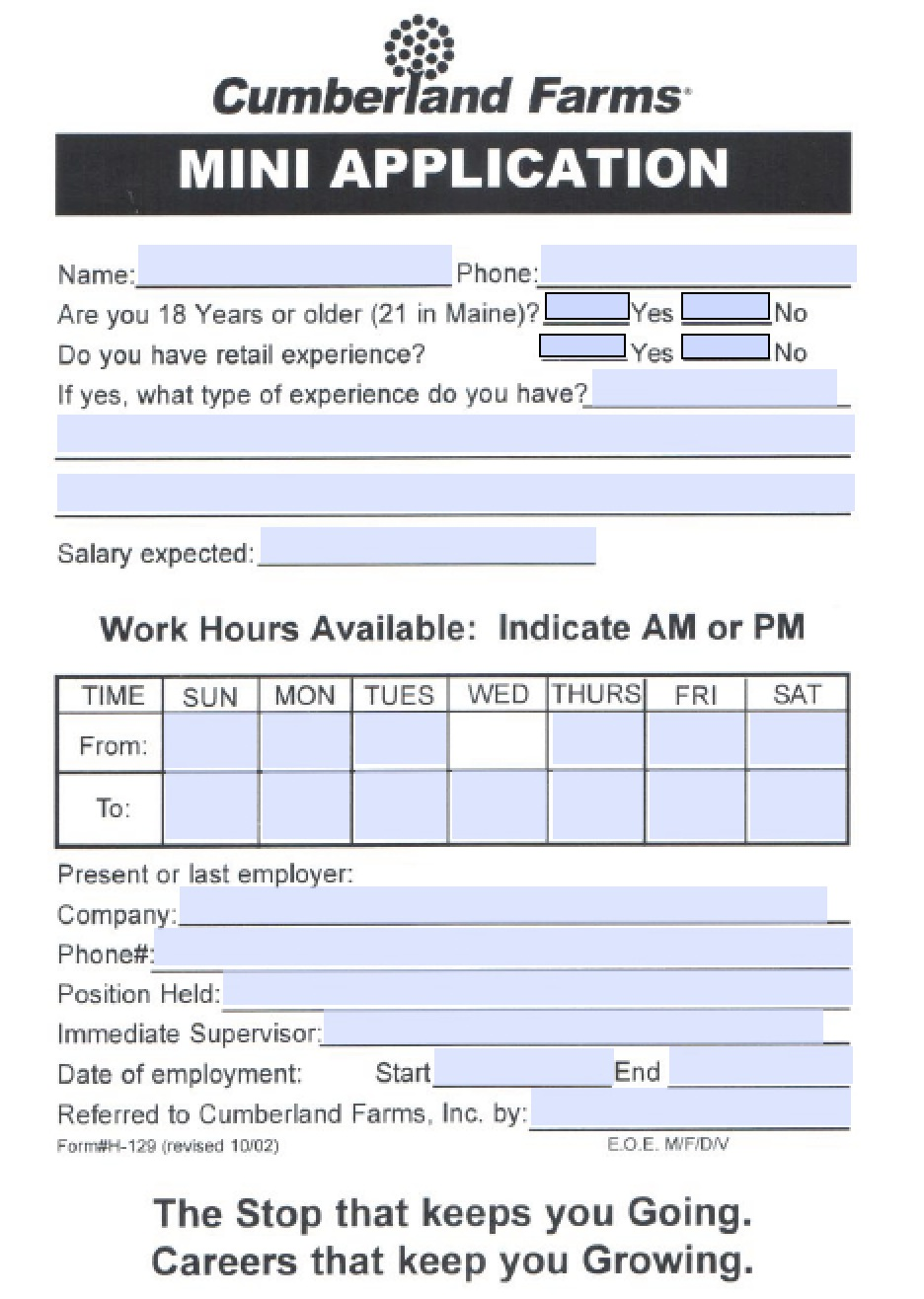 download cumberland farms job application form