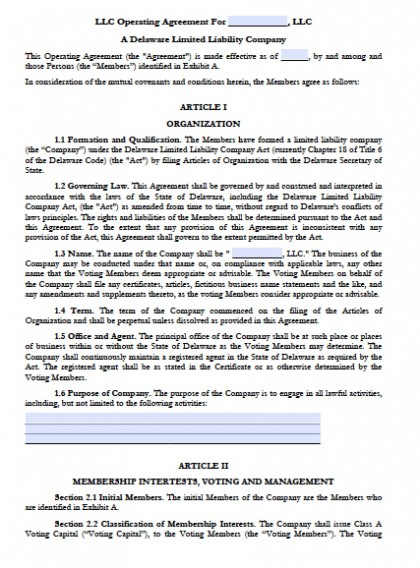 Llc Operating Agreement Form Delaware LLC Operating