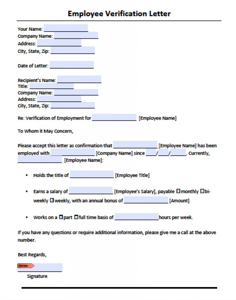 Employee Verification Letter Template | PDF | RTF | Word  Employment Verification Request Form Template