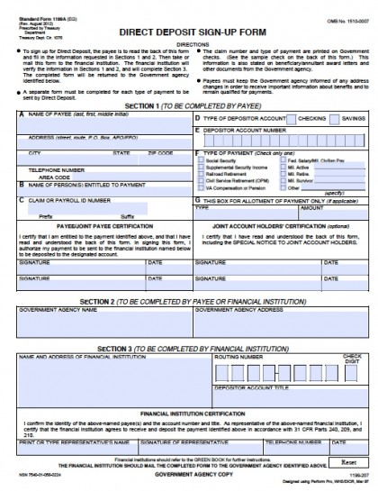 Download Federal Direct Deposit Sign Up Form | Sf-1199A-2012