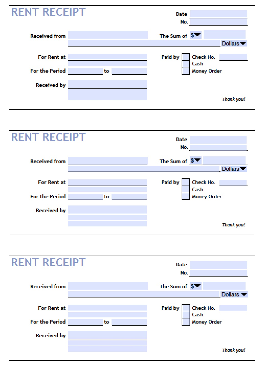 download printable rent receipt templates