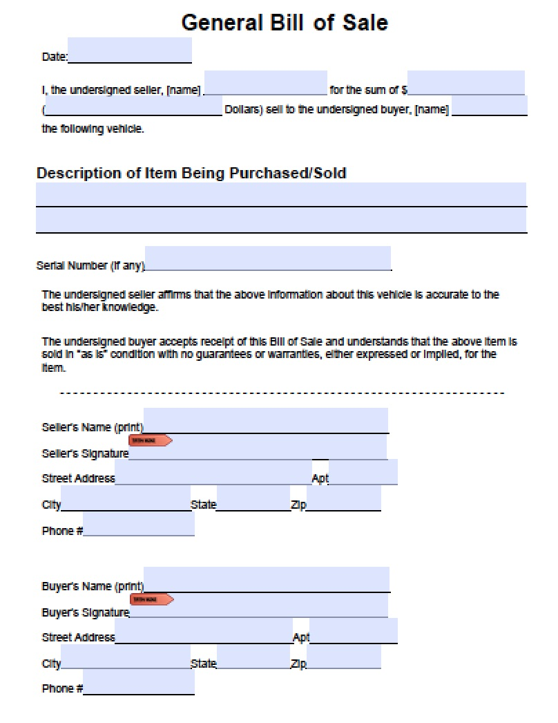 download general blank bill of sale form pdf word wikidownload