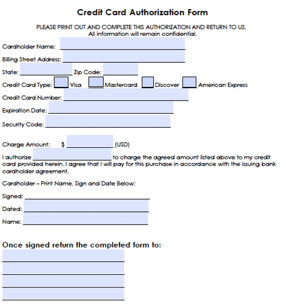 Download Generic Credit Card Authorization Forms wikiDownload