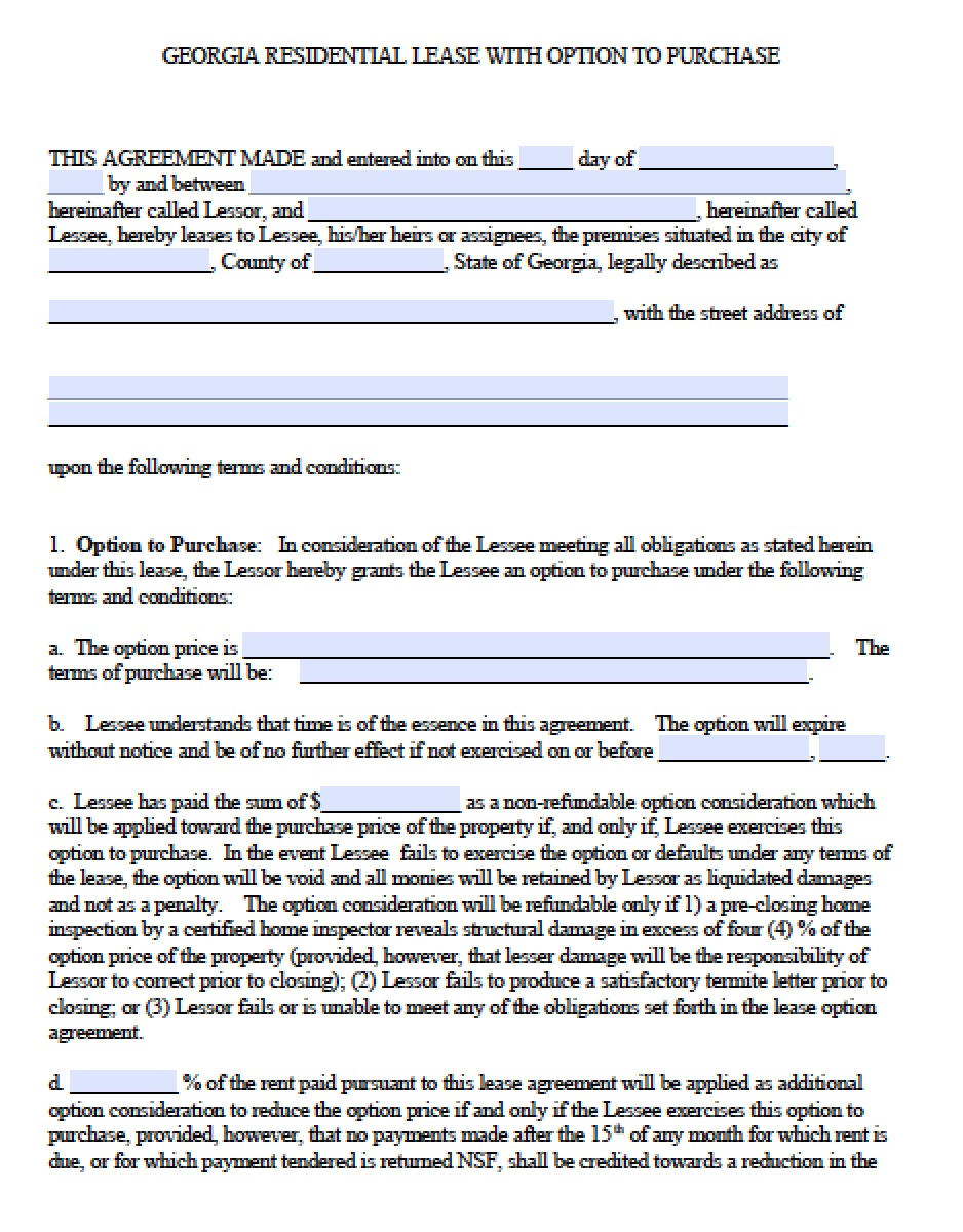 Download Georgia Rental Lease Agreement Forms And Templates Pdf