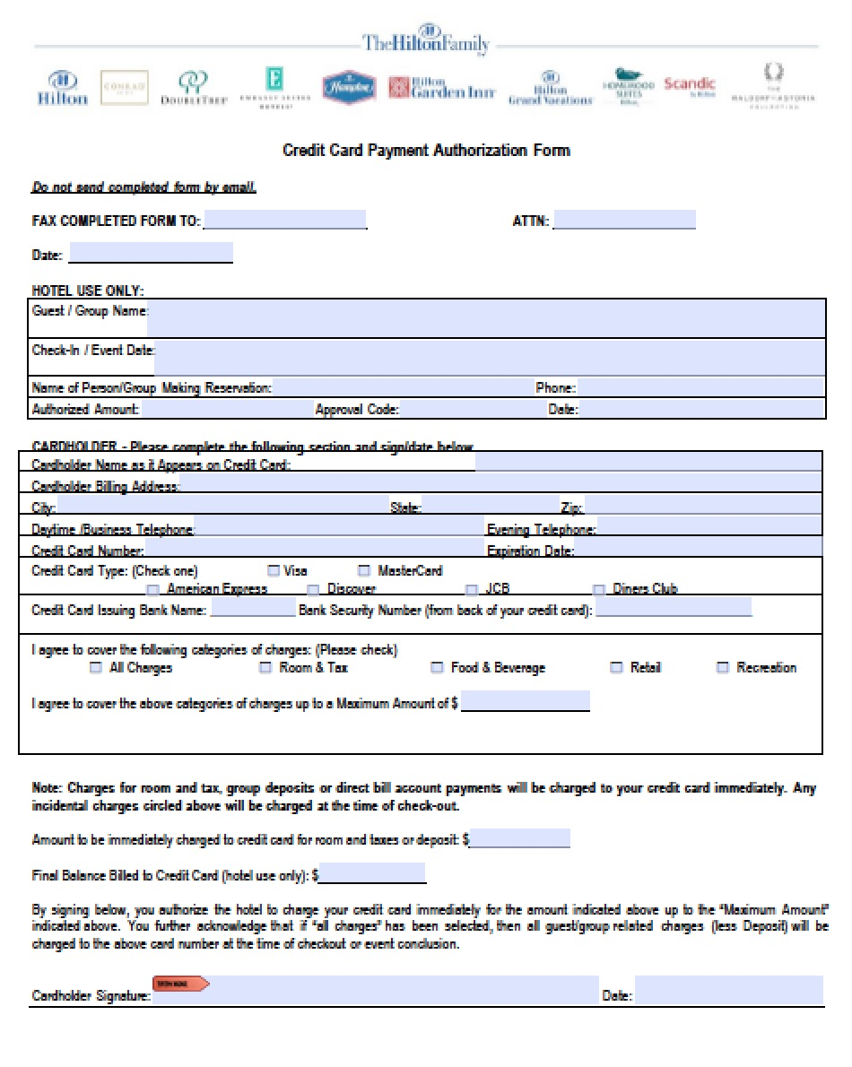 Download Hilton Credit Card Authorization Form Pdf