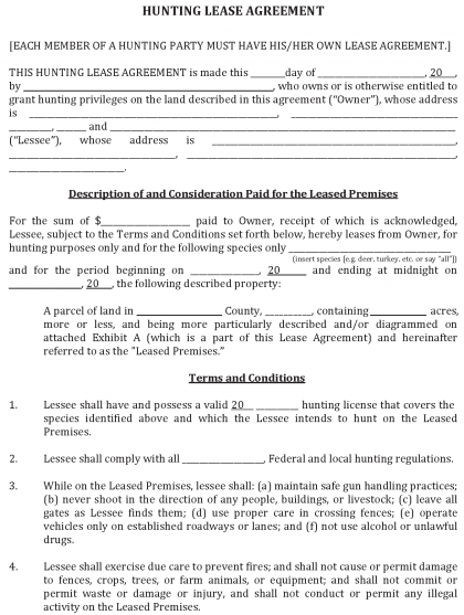 land rental contract template - download hunting land lease agreement fillable pdf