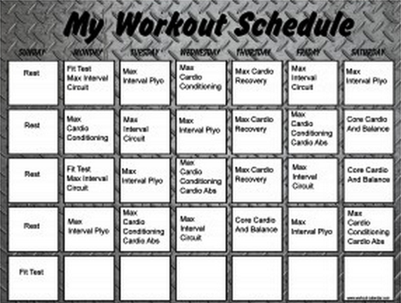 Lively image inside insanity schedule printable