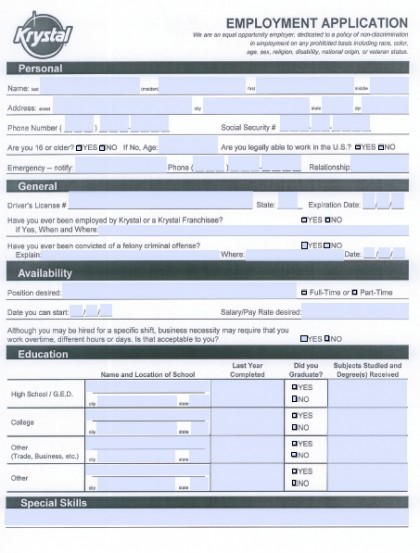 krystal-job-application-420x553 Taco Bell Job Application Form Pdf on taco bell employment application, taco bell shoes, taco bell logo,