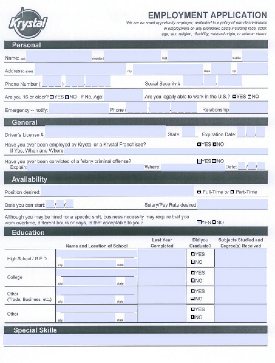 Download Krystal Burgers Job Application Form | Adobe PDF wikiDownload