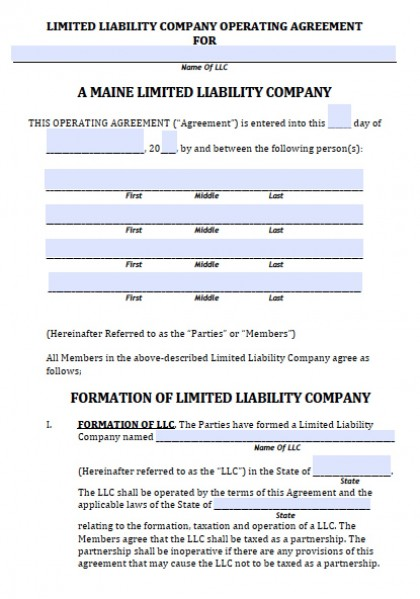 Llc Operating Agreement Form Maine LLC Agreement