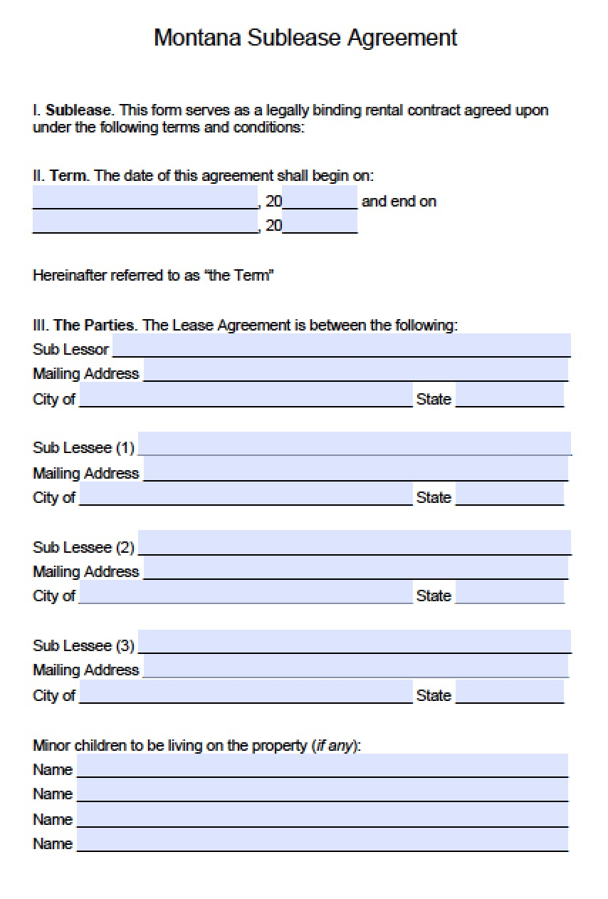 Sublease Agreement Form Template Commercial Sublease Agreement