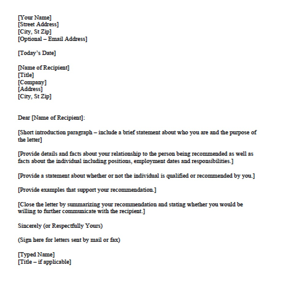 Download Personal Character Reference Letter Templates Sample