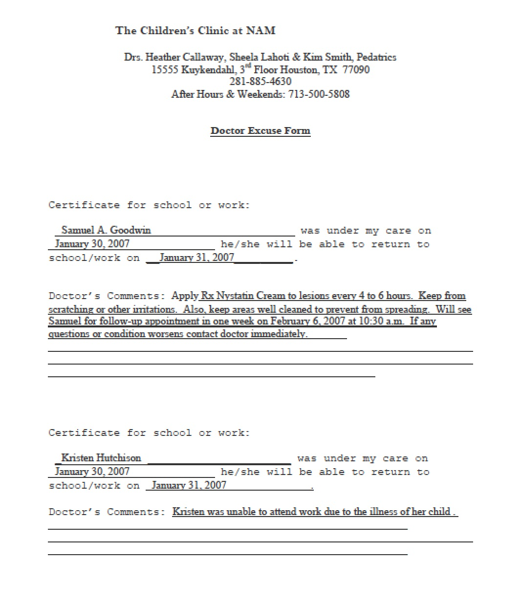 Download Doctors Note Templates PDF RTF – Doctor Note