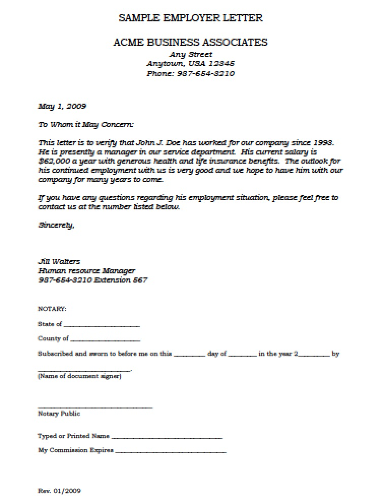 Employment Verification Letter Template Microsoft