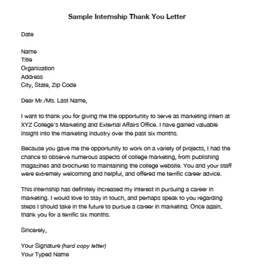 end of internship thank you letter examples thank you letter  sample internship