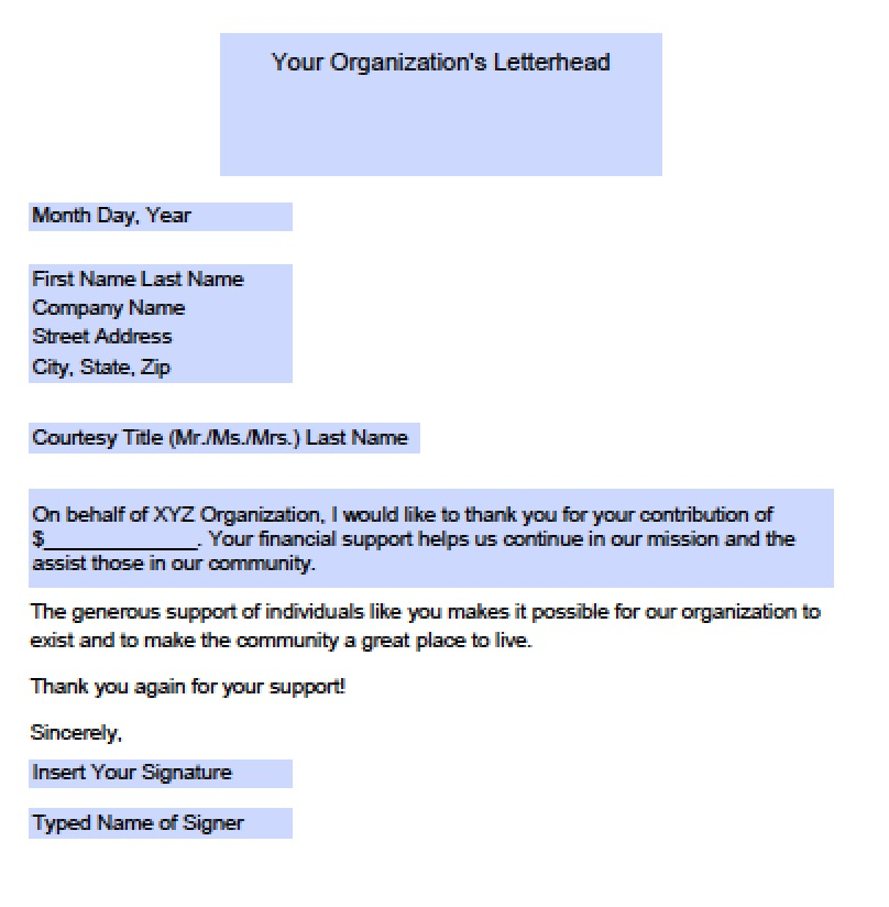 Download Donation Thank You Letter Templates | Samples Wikidownload