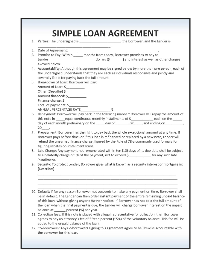 Simple Loan Document  Agreement Format For Money Lending