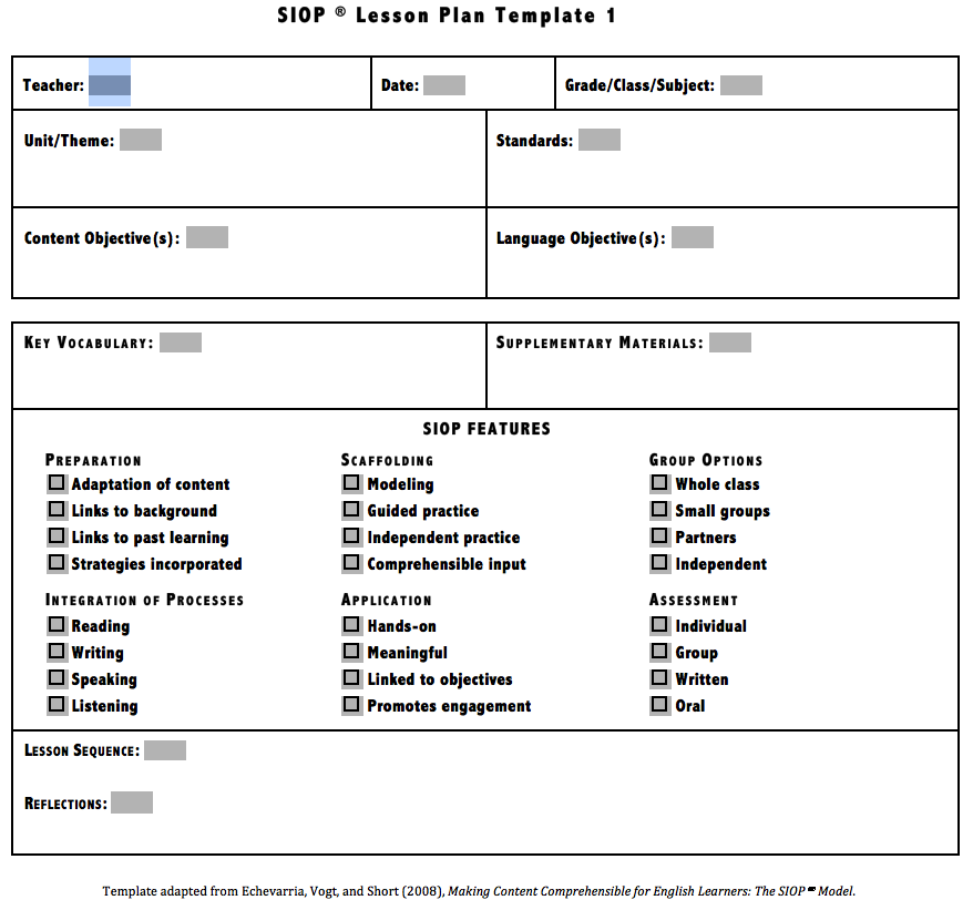 download siop lesson plan template 1