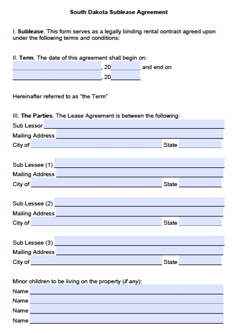 Sub Lease | PDF | Word  Lease Agreement Form Template
