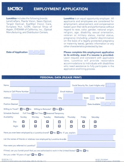 Download Sunglass Hut Luxottica  Job Application Form  Pdf