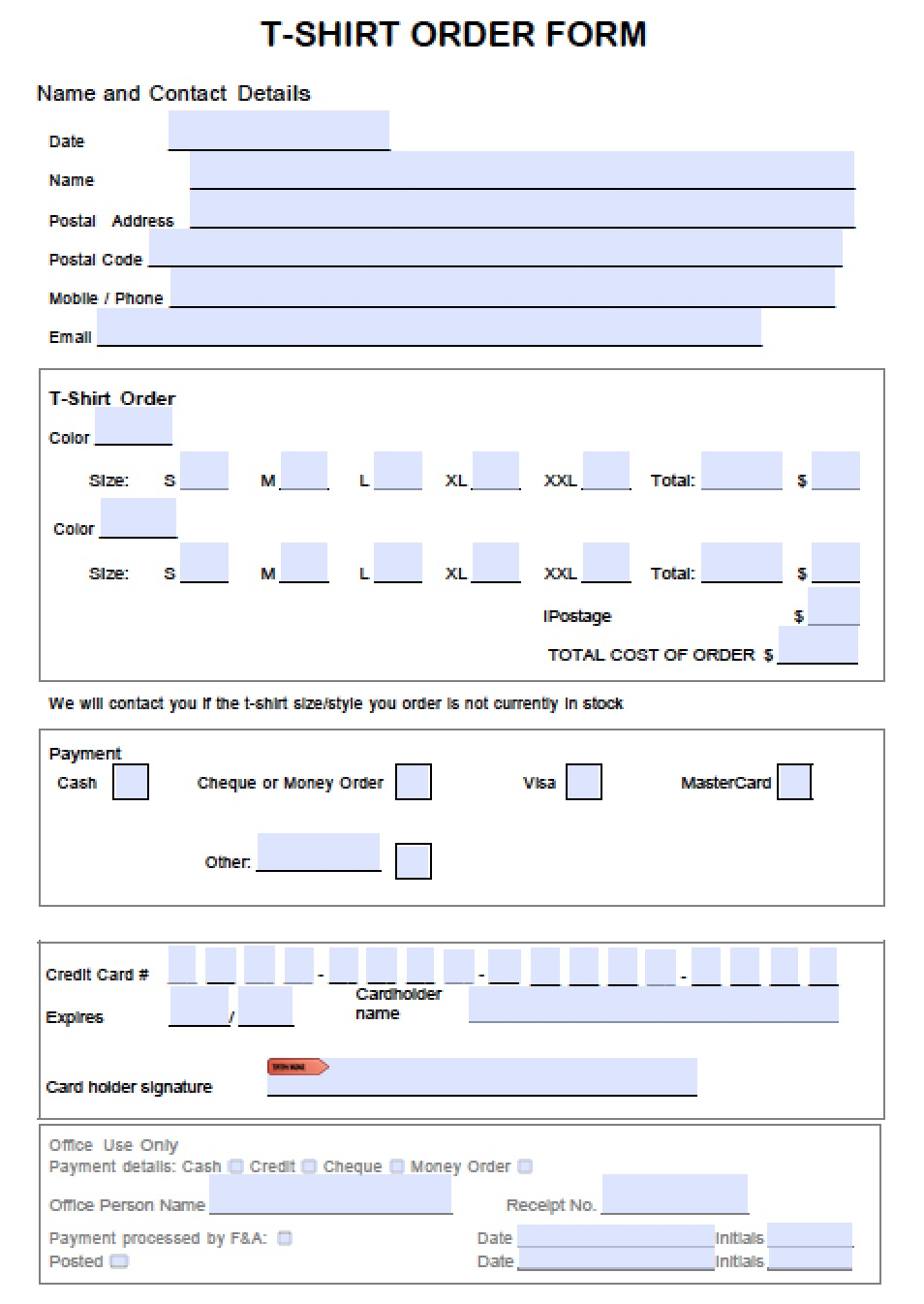 Attractive Microsoft Word Order Form Template