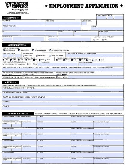 Download Tractor Supply Job Application Form  Fillable Pdf