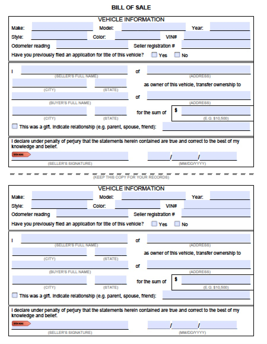 Download Vehicle Bill of Sale Forms PDF – Bill of Sale for Car