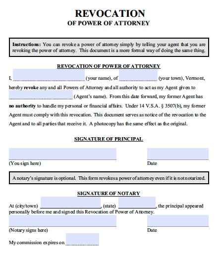vermont-poa-revocation Power Of Attorney Form Wisconsin on power of appointment form, acknowledgment form, contract form, easement form,
