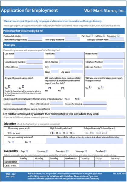 Download WalMart Job Application Form | Fillable PDF wikiDownload