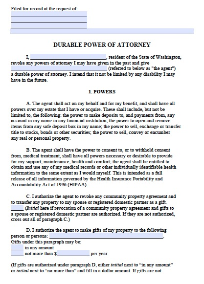 Shocking image throughout free printable power of attorney form washington state
