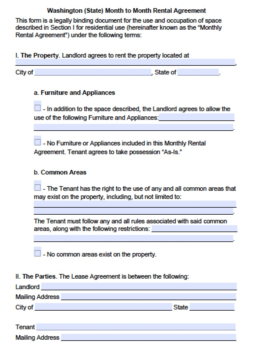 (Outside Seattle) Month To Month | PDF | Word  Free Property Lease Agreement