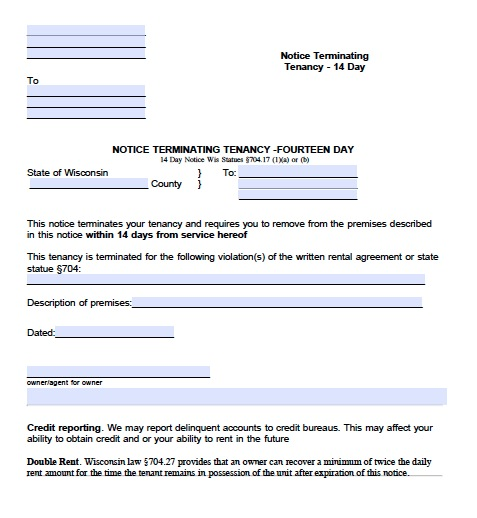 download wisconsin eviction notice forms notice to quit pdf