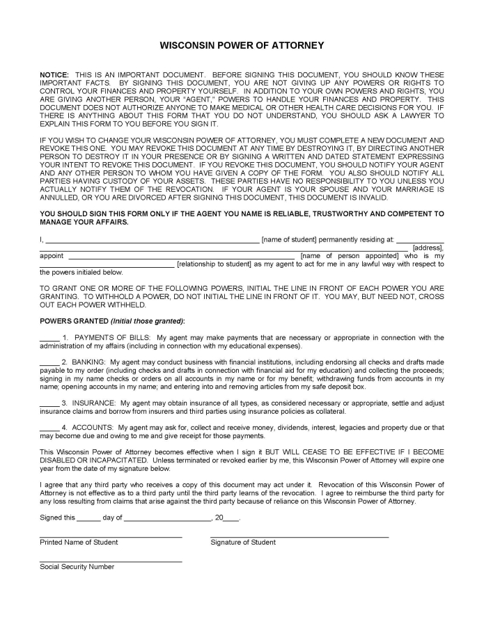 Download Wisconsin Durable Financial Power Of Attorney Form Wikidownload