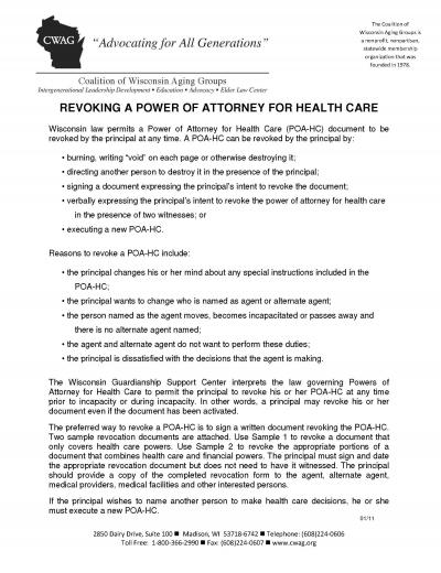 Download Wisconsin Medical Revocation Power Of Attorney Form