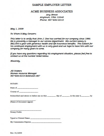job letter from employer confirming employment employment verification letter template with 15155