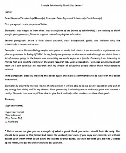 Thank You Letter For A Scholarship from wikidownload.com
